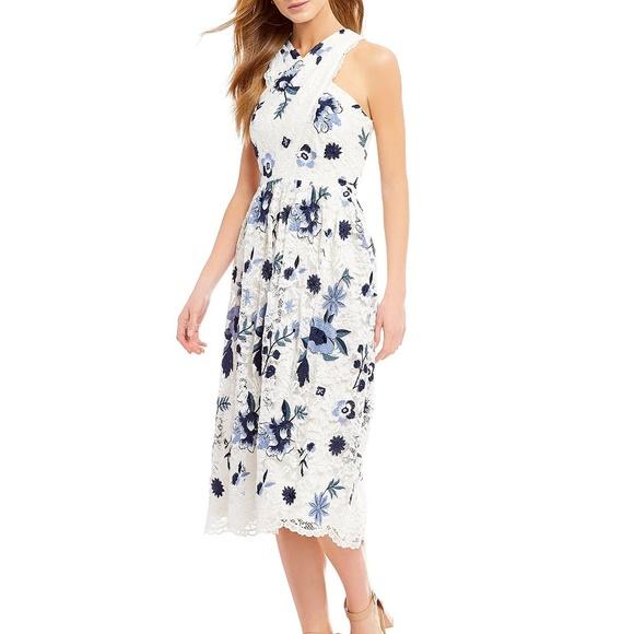 3506fc25601ca Tahari Dresses | Nwt Ivory Lace Floral Halter Dress | Poshmark